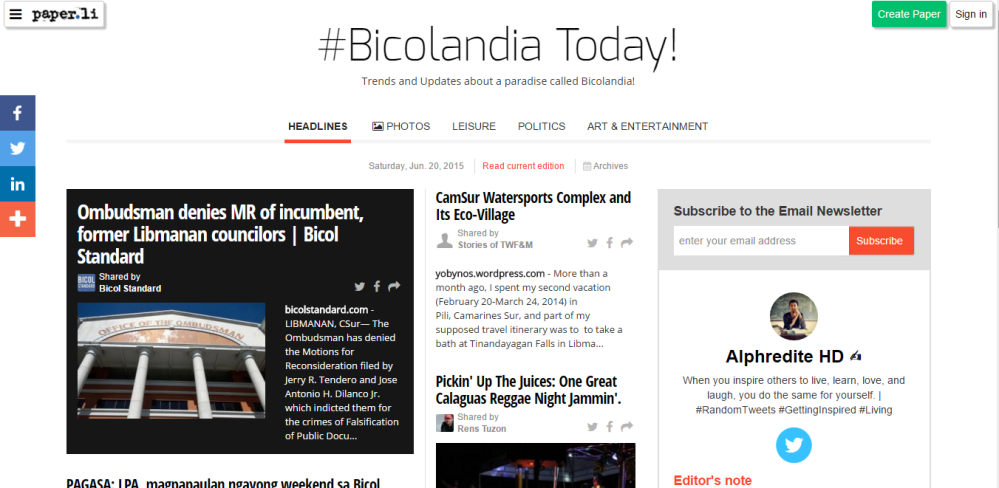 New Mention-Bicolandia Today